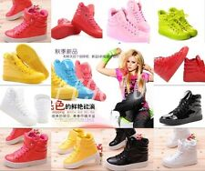 Couple models candy colored patent leather high-top men and women sports shoes