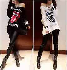 Womens Tops Double Zipper Off Shoulder Long Sleeve Street Style Big Lips Pattern