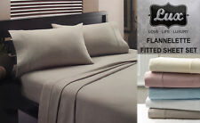 Egyptian Cotton Flannelette Sheet Set Single / King Single / Double Color Choice