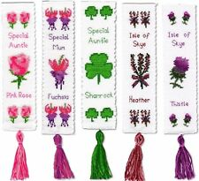 Personalised Bookmark Cross Stitch Kit Fuchsia, Rose, Shamrock, Thistle, Heather