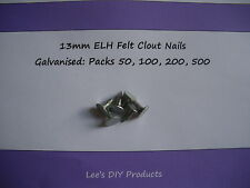 Packs of 50,100,200 & 500 13mm ELH Felt Clout Nails, Galvanised, for Shed Roofs