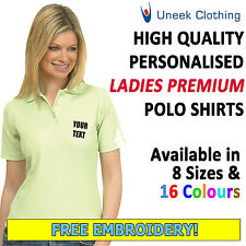 Personalised Uneek Embroidered Ladies Fit Polo Shirts,Customised Workwear, UC106
