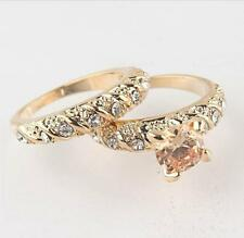 2PCS 18K GOLD FILLED ROUND CUT WEDDING ENGAGEMENT SOLID RING 3 SIZE