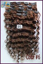 120g 7pcs Virgin Curly Weaving Clip In Deep Human Hair Extensions Medium Brown