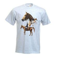 Horse Jumpers, Show Jumping Design No 803 Printed FOTL T-Shirt White Or Ash Grey