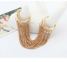 fashion Europe and the United States metal tassel double loop ring