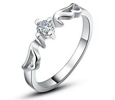 14K White Gold Pl. Solid 925 Sterling Silver Wings Women's Ring Cubic Zirconia