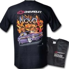 68 69 70 71 72 CHEVY II NOVA SS FLAME T-SHIRT BLACK TEE SHIRT GM LICENSED