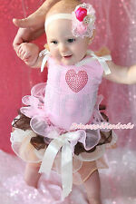 Mother's Day Rhinestone Love Mom Pink Top Pink Brown Beige Petal Skirt Set NB-8Y