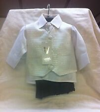 NEW VIVAKI WHITE 4PCS TROUSERS WAISTCOAT,SHIRT AND TIE/ CRAVAT BOY SUIT