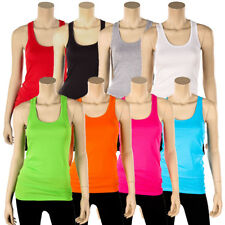 Womens 100% Cotton Racerback Tank Top Basic Cami Solid Tee Shirt Workout S M L