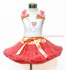 Mom's Day Baby Girl Rhinestone LOVE MOM White Top Coral Girl Pettiskirt Set 1-8Y