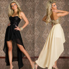 Lady Short in Front Long Dazzling Sequins Strapless Dresses Sexy Prom Dress