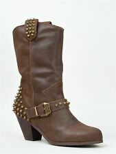 NEW BETSEY JOHNSON YENDELL Studded Mid Calf Western Cowboy Heel Boot sz Brown