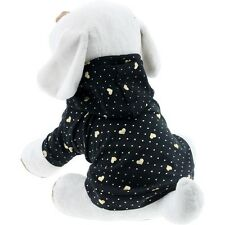 Pet Dog Puppy Clothing Apparel Gold Heart T-shirt BLACK Cotton Cloth with Hood