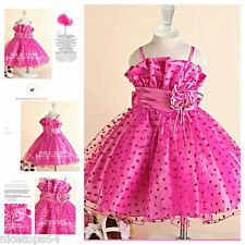 HP1688 Hot Pink Christmas Flower Girls Party Dress SIZE 1-2-3-4-5-6-7-8-9-10-12T