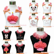 Black White Top Coral Rhinestone Mermaid Princess Cake Minnie Ice Cream NB-10Y
