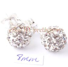 4,6,8,10MM ROUND SPARKLE SWAROVSKI CRYSTAL BALL&WHITE SILVER PLATED STUD EARRING