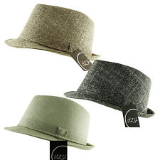 ITZU Apparel Co. Classic Textured Trilby Fedora Hat Cap + Matching Band