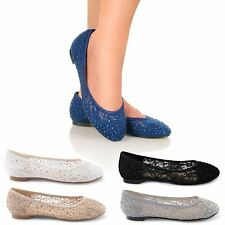 NEW LADIES CASUAL FLAT BALLET DOLLY BALLERINA PUMPS LACE BRIDAL SHOES SIZE 3-8