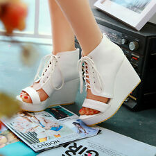 Alluring Womens Lace Up Open Toes Platform Over Wedge Heels Sandles Shoes Size