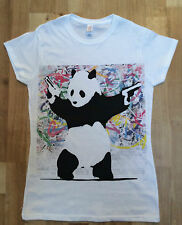 Banksy Panda With Guns Graffiti Womens White T-Shirt - Fashion/Graphic T-shirt