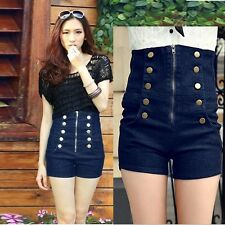Girls Chic Double Breasted Zipper Vintage High Waisted Denim Shorts Jeans Pants