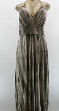 New MANDEE Brown Tie Dye Halter Maxi Dress Deep V Long Empire Boho Chic Size S L