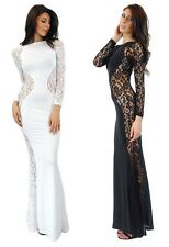 style creek women's new sheer floral lace hourglass mermaid maxi dress 10841 D