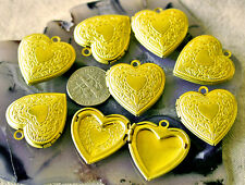 4pcs Solid Brass Heart Photo Lockets Charm Pendant 22.5x24.5mm b17 PICK