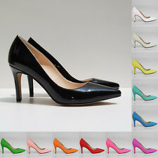 Womens Mid Heels Pointed Corset Style Work Pumps Shoes Patent Size AU 3.5-8.5