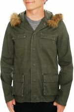 HOT TOPIC SHOUT HOUSE OLIVE GREEN FAUX FUR HOODED JACKET MILITARY DIFFERENT SIZE