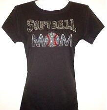 RHINESTONE NEW  (SOFTBALL MOM)  TSHIRT BLACK SIZE:S,M,L,XL,1XL,2XL,3XL
