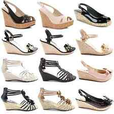 WOMENS LADIES HIGH PLATFORM WEDGE PEEPTOE SANDALS SHOES SIZE