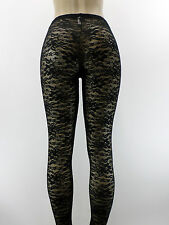 NEW Sexy B.T.I 136 Black Lace Floral Long Leggings Thick Footless Tights S M L