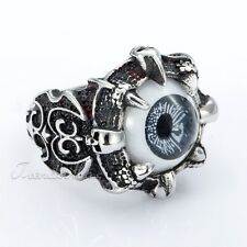 Mens Boys Ring Punk Evil Eyeball Skull Axe Silver Tone 316L Stainless Steel Ring