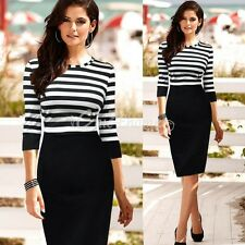 Women Elegant Pinup Stripe Bodycon Wear To Work Casual Tunic Pencil Shift Dress