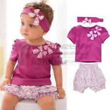 Toddler Infant Girls 3Pcs Outfits Headband+T-shirt+Floral Pants Kids Clothes Set
