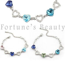 Gorgeuos Silver Crystal Bracelet Six Hearts - Choice of Colour CB-1