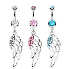 Surgical Steel Belly Bar / Navel Ring With Multi Paved CZ Hollow Angel Wing