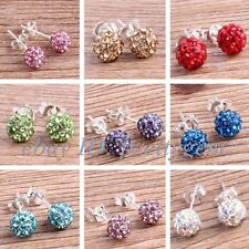 FASHION STYLE 6MM SPARKLE SWAROVSKI CRYSTAL BALL&SILVER PLATED STUD EARRINGS