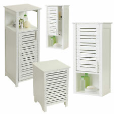 Slatted Wall Mounted Bathroom Cabinet White Wooden Storage Cupboard Unit Hamper