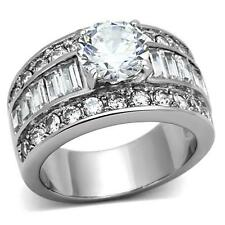 Round cz Stainless Steel Baguette Wide Band Engagement Wedding Women's Ring