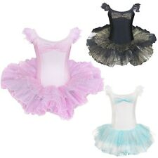 Girls Fairy Ballet Skate Dance Party Leotard Dress Kid Tutu Skirt Costume SZ 4-7