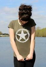 US Army WWII Military White Star Retro M*A*S*H T-shirts Ladies all sizes
