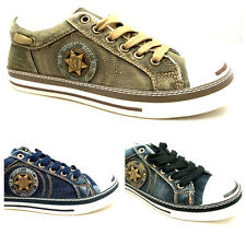 New Mens Boys Star Trainers Canvas Lace Up Shoes Black Blue Khaki Size 6 - 12