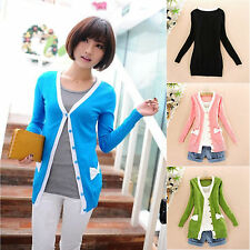 College Style Womens Girls Tops Sweater Splice Bow Pockets Long Sleeve Cardigan