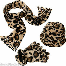 Pia Rossini Ladies Fleece Leopard Print Hats Gloves And Scarves Set Scarf Beanie