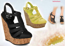Women's Strappy Buckle Almond Toe Wedge Sandal Shoes Size 6 - 11 Black Yellow