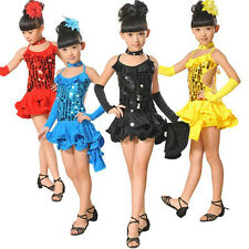 Kids Girls Latin Salsa Tango Sequin Party Dance Skirt Sets Dress Outfits Sz 5-10